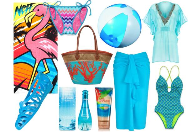 look de playa azul