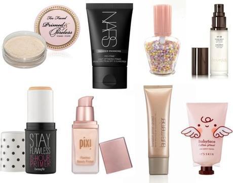 selección de productos primers para maquillaje duradero